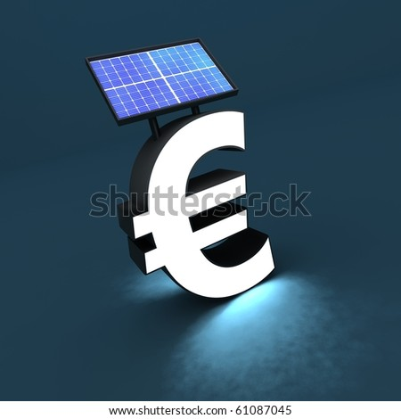Euro sign with solar panel and light