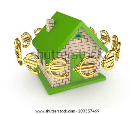 Euro signs around green small house.Isolated on white background.3d rendered.