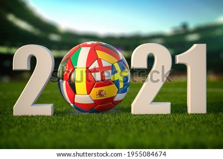 Euro 2021. Soccer Football ball with flags of european countries on the grass of football stadium. 3d illustration Zdjęcia stock ©