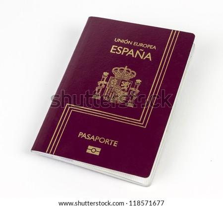 Euro Spanish Passport on white background.