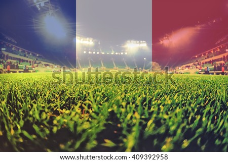 euro 2016 stadium with blending France flag #409392958
