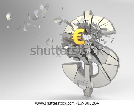 Euro symbol breaking dollar symbol, 3d render.