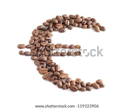 Euro symbol composed from coffee beans on a white background