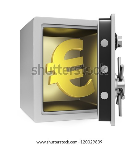 Euro symbol in a personal safe with door opened. Isolated on a white background.