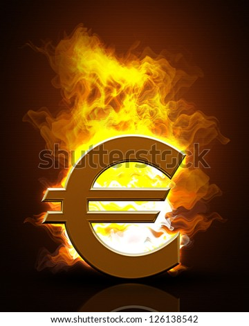 Euro symbol  in Fire Black Background. High resolution. 3D image