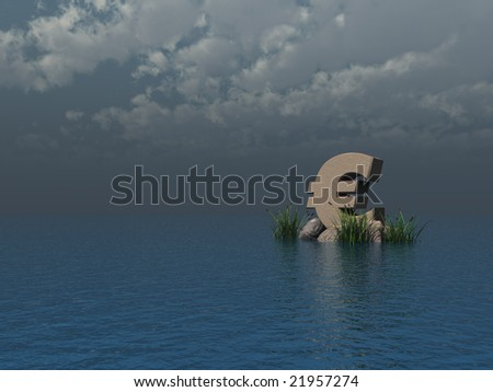euro symbol monument at the ocean - 3d illustration