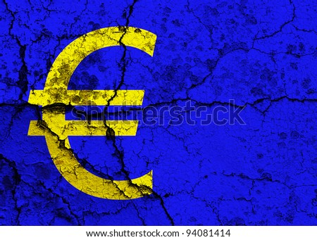 Euro symbol on a cracked grunge background