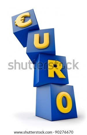 Euro symbol on blue boxes starts to fall