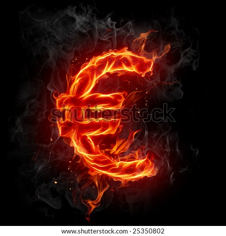 Euro symbol - Series of fiery illustrations