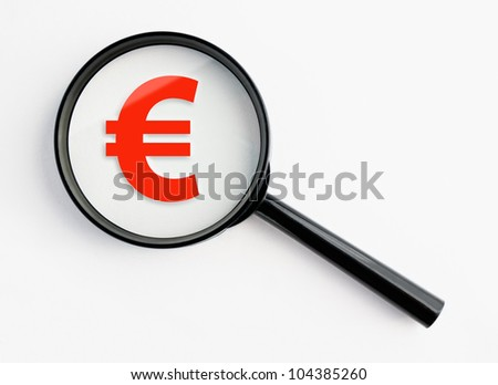euro symbol under a magnifying glass, with isolated background