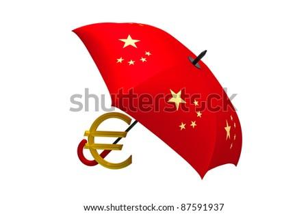 Euro symbol under the Chinese umbrella