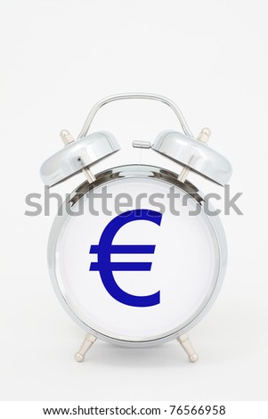 euro time. euro symbol on the alarm clock face