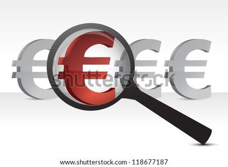 euro under inspection design concept illustration over white - stock photo