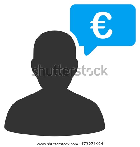 Euro User Opinion icon. Glyph style is bicolor flat iconic symbol, blue and gray colors, white background.