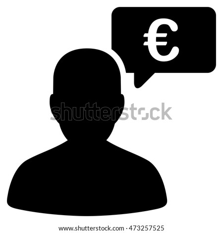 Euro User Opinion icon. Glyph style is flat iconic symbol, black color, white background.