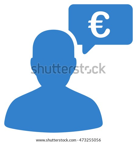 Euro User Opinion icon. Glyph style is flat iconic symbol, cobalt color, white background.