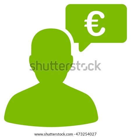 Euro User Opinion icon. Glyph style is flat iconic symbol, eco green color, white background.