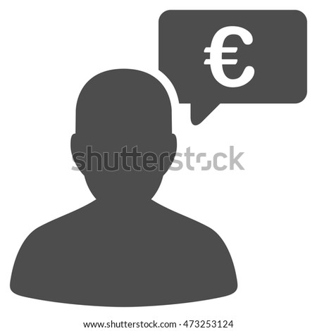 Euro User Opinion icon. Glyph style is flat iconic symbol, gray color, white background.