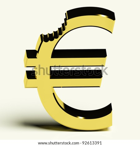 Euro With Bite Showing Devaluation Crisis And Recessions