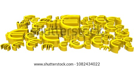 Euro-Zeichen, Typographie, 3D-Rendering