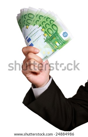 Eurobill money in hand isolated on white
