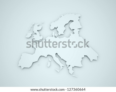 Europa continent with shadows on blue background