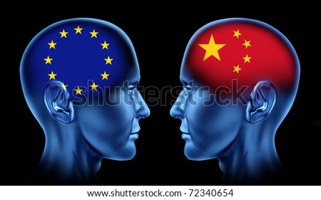 Europe and China trade relations symbol represented by two faces head to head in cooperation and competition