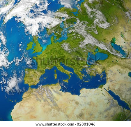Europe and European union countries including France Germany Italy and England surrounded by blue ocean and clouds.