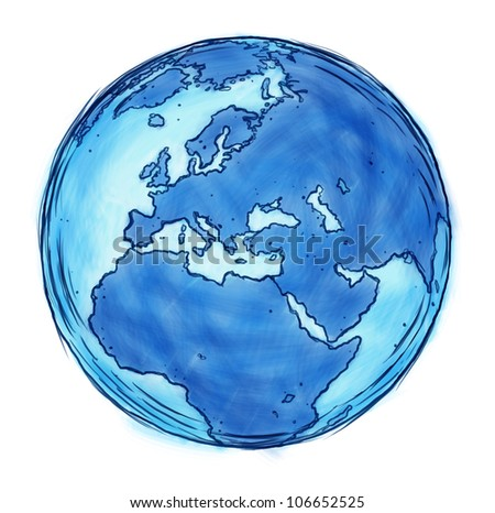 Europe and European union sketch drawing and doodle of countries including France Germany Italy and England surrounded by blue ocean as a freehand sketched illustration isolated on white.