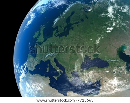 Europe as seen from space with cloud formations