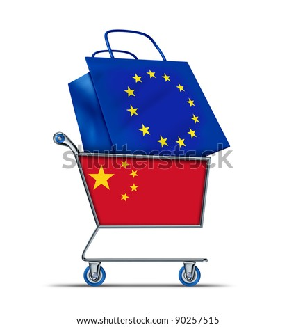 Europe bailout with China buying European debt with a shopping cart as a Chinese concept and a bag with a flag of the European Union as an economic trading idea of selling  European assets to Asia.