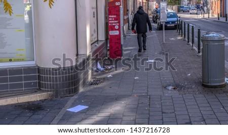 Europe, Belgium, Brussels, Jettе, Leopold II  Street, November 8, 2018, 2.51 pm: Dirty pavement #1437216728