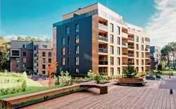 Europe Benches at Modern complex of apartment residential buildings. And outdoor facilities.