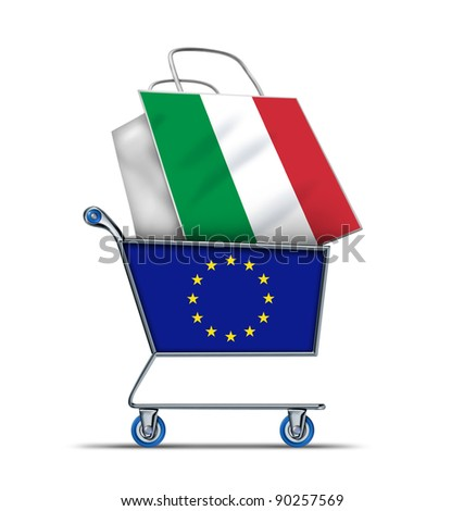 Europe buying Italian debt with a shopping cart as a European concept and a shopping bag with a flag of Italy as an economic trading idea of the Italian financial health as an emergency  ballot,.