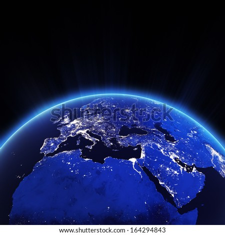 Europe city lights at night. Elements of this image furnished by NASA Stockfoto ©