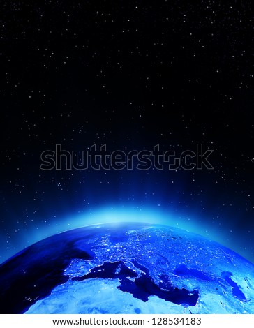 Europe city lights. Elements of this image furnished by NASA