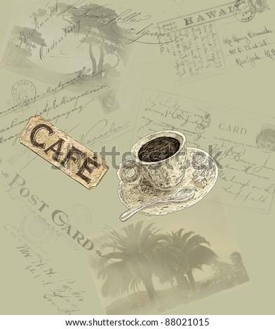 Europe coffee theme illustration