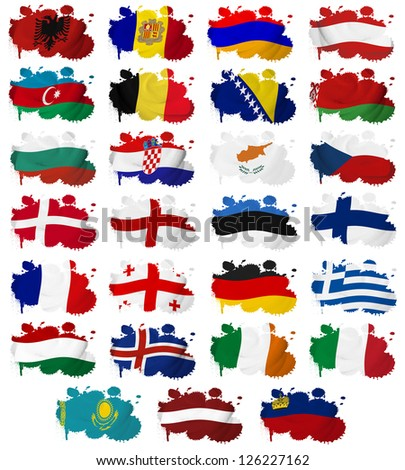 Europe countries (From A to L) flag blots on a white background