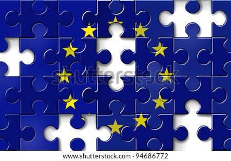 Europe crisis as a European flag in a jigsaw puzzle with pieces missing as a financial crisis that needs banking assistance and loan guarantees for default in countries as Greece Italy Spain France.