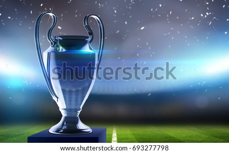 Europe Cup. Silver trophy. Football championship 2017. 3d render
