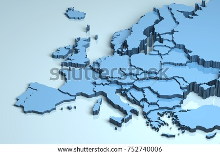 Europe 3D map #752740006