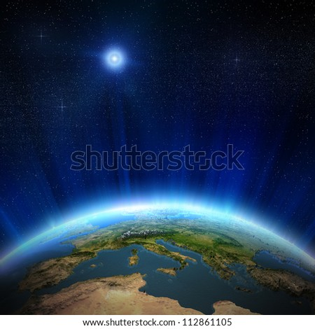 Europe from space, 3d landscape and water. Elements of this image furnished by NASA