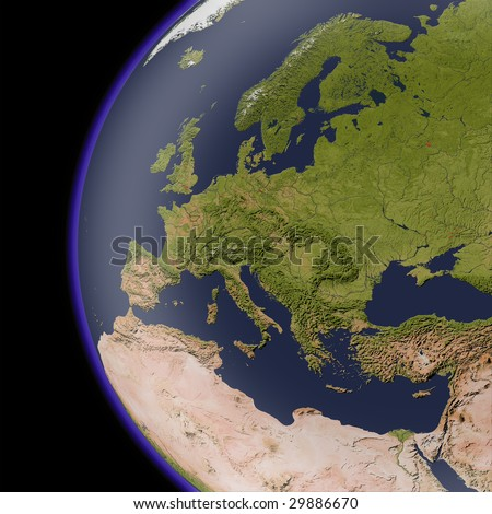 Europe from space, shaded relief map. Colored according to natural appearance, with major urban areas.