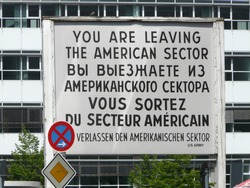 Europe,Germany,Berlin,Checkpoint Charlie. Berlin Wall crossing point between East and West Berlin