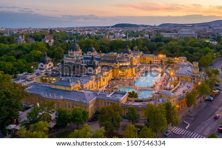 Europe, Hungary, Budapest. Aerial Photo from a thermal bath in Budapest. Szechenyi thermal bath in the city park of Budapest.