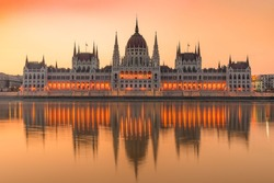Europe, Hungary, Budapest. Hungarian Parliament in Budapest, hungary. famous landmark, historical building.