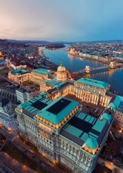 Europe hungary Budapest. Panoramic cityscape photo about famous Buda royal castle Danube river and Szechenyi chain bridge. Hungarian parilament historical building on the background.