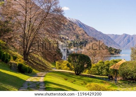 Europe, Italy, Bellagio, Lake Como, SCENIC VIEW OF TREES AND BUILDINGS AGAINST SKY #1196429200