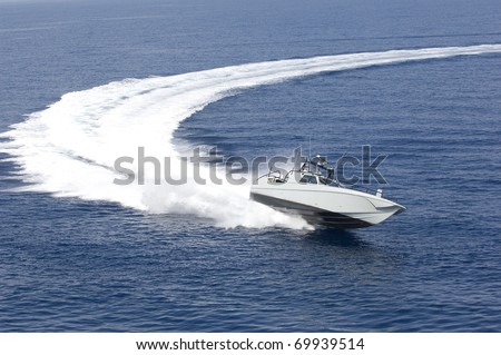 europe, italy, sicily, fast boat in mediterranean sea, aerial view