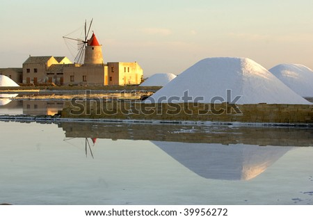 Europe, Italy, Sicily, Marsala ( province of Trapani )old windmill and saltwork